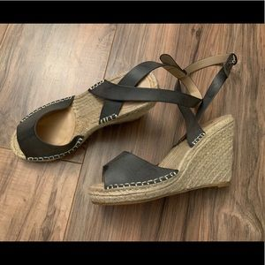 Wicker Wedge Cross Ankle Heels